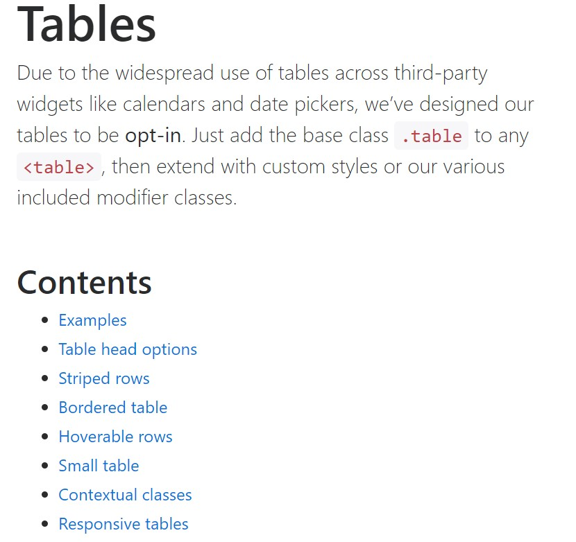 Bootstrap tables official  documents