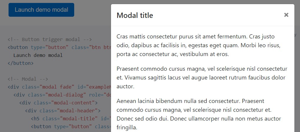 Bootstrap Modal Page