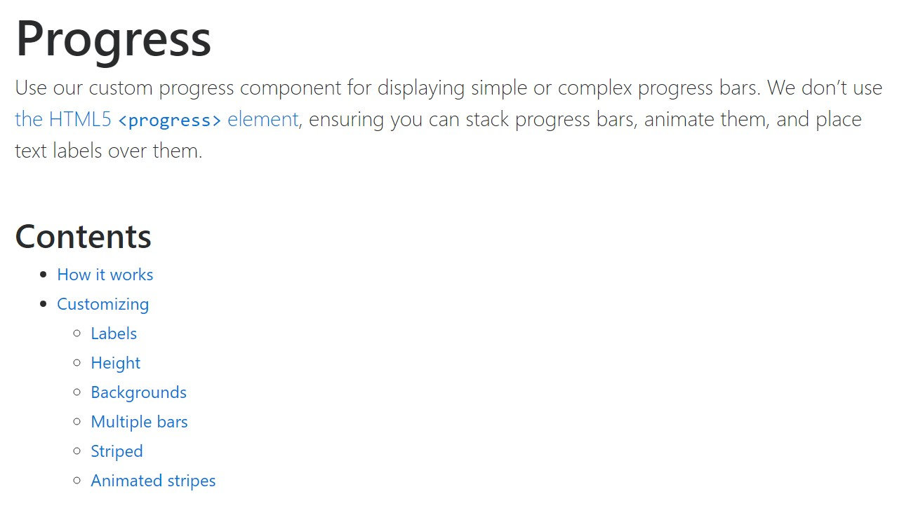 Bootstrap progress bar  main  information