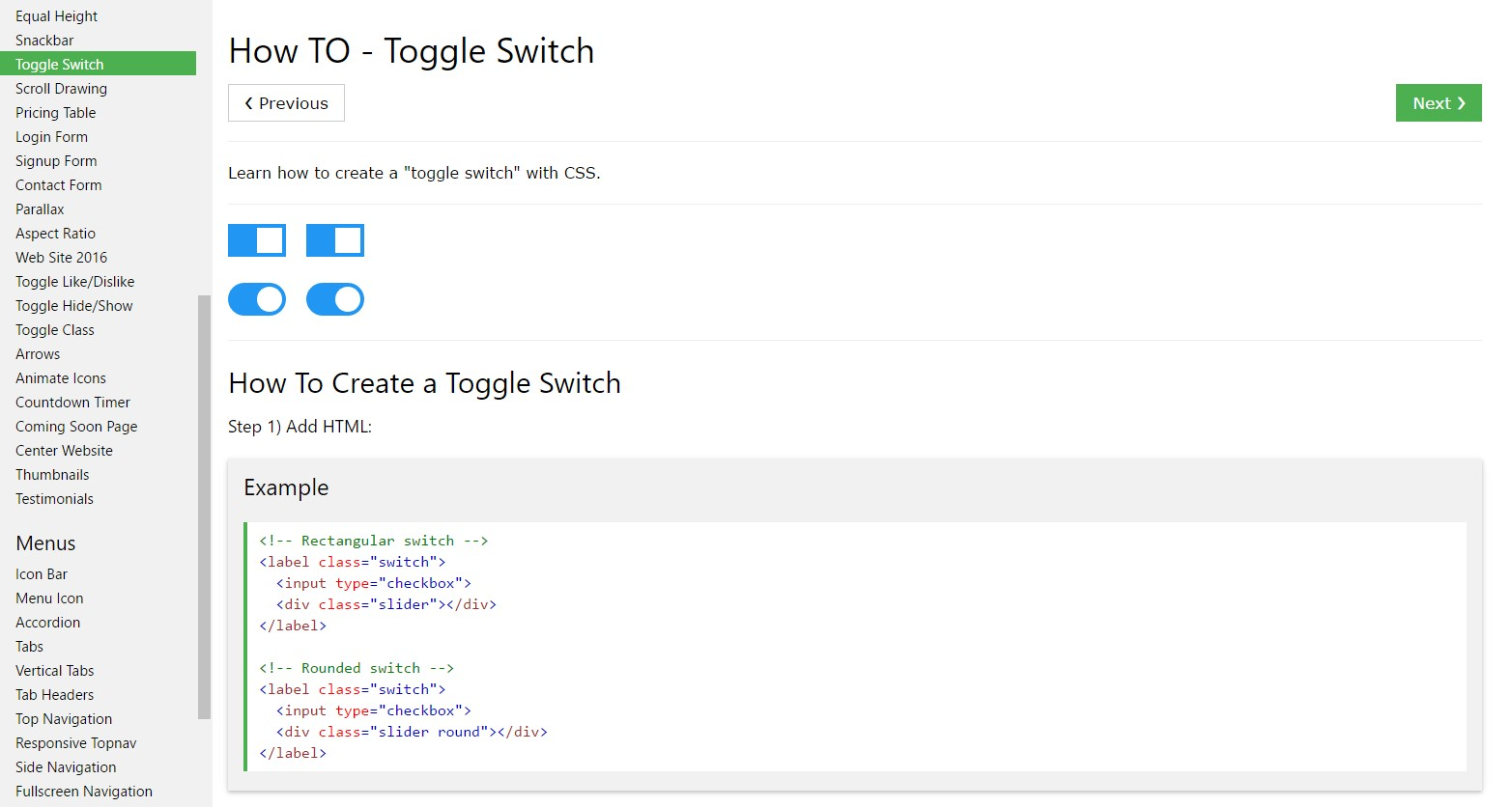 Exactly how to create Toggle Switch