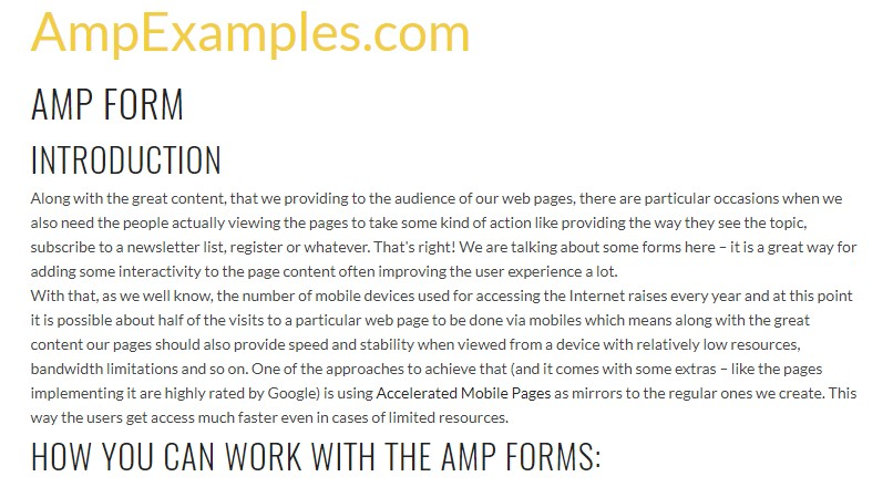 Let's  check out AMP project and AMP-form element?