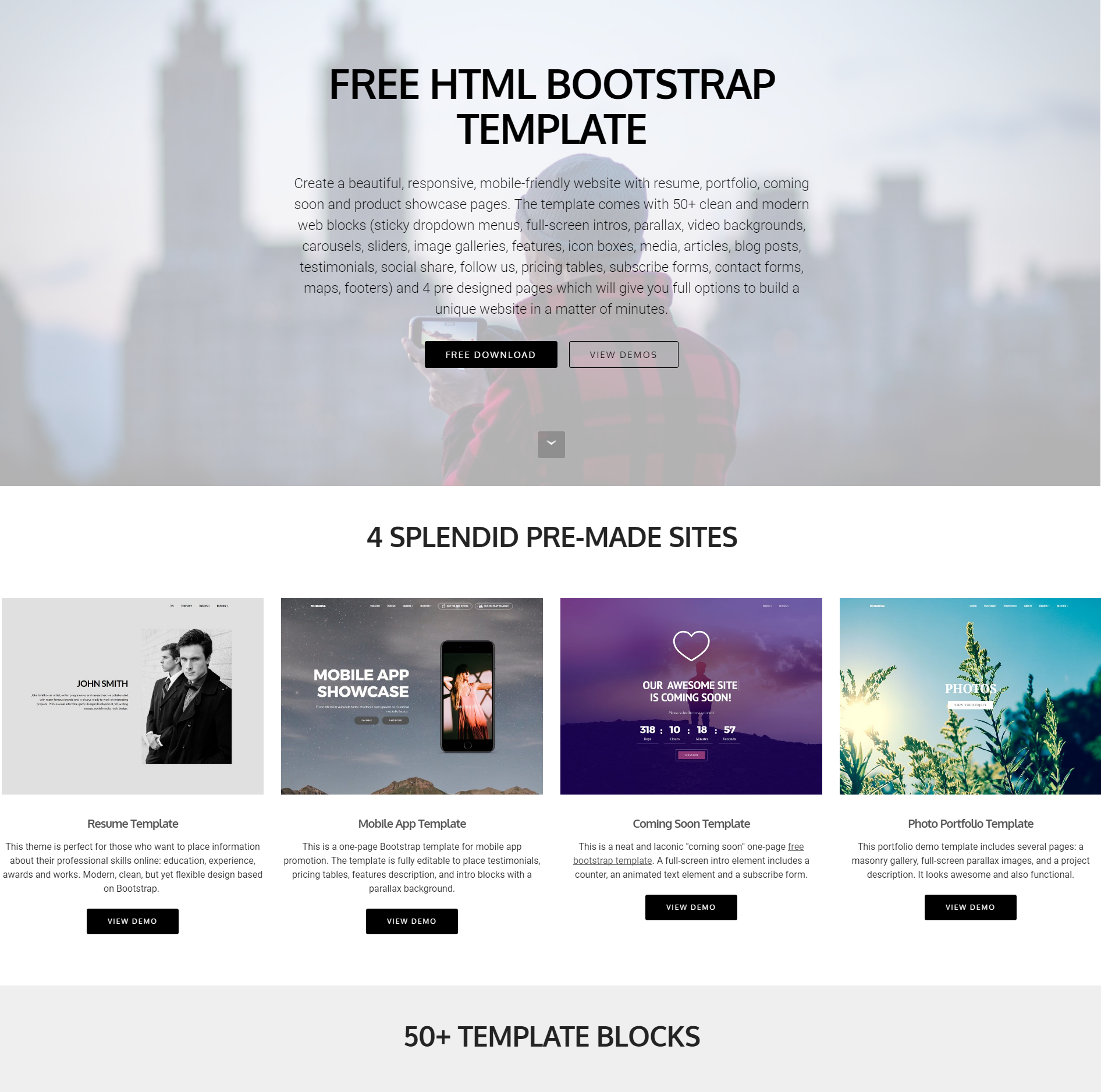 30+ Excellent Free HTML5 Bootstrap Templates 2018