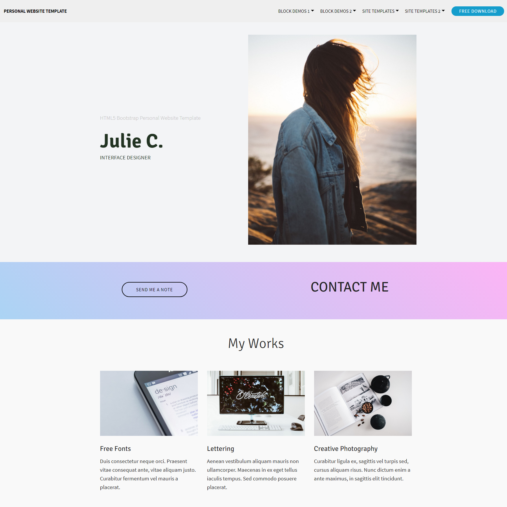 Responsive Bootstrap Personal website Themes